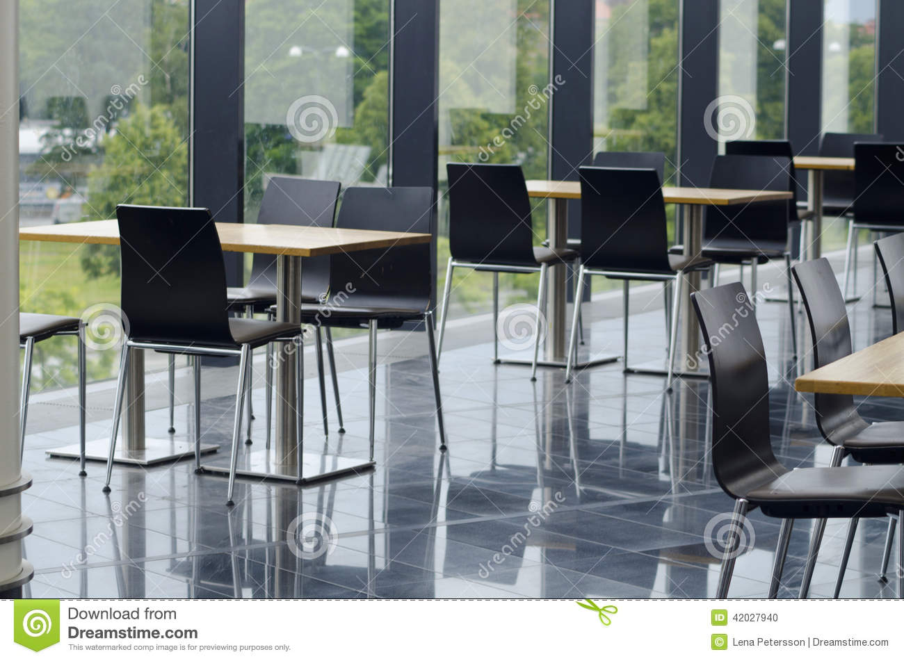 Modern office building cafeteria seating area stock photo image