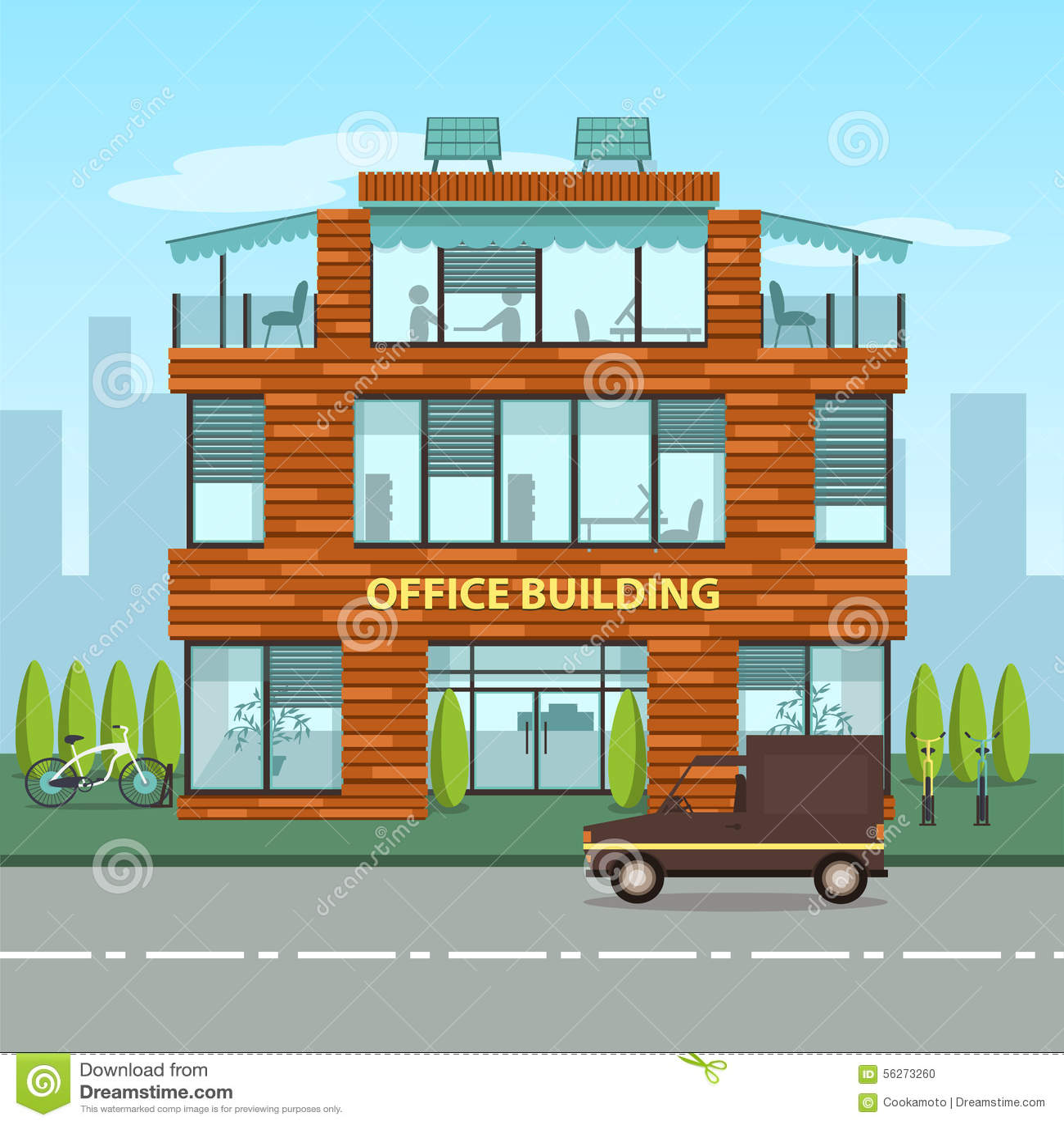 Cutaway Office Building With Interior Design Plan Cartoon