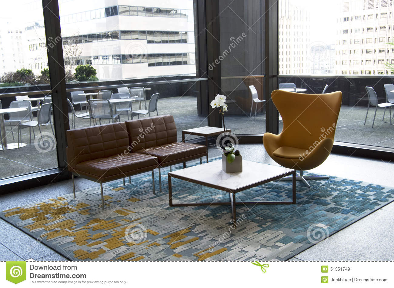 Modern Office Lobby Furniture modern office building lobby furniture stock photo - image: 51351749