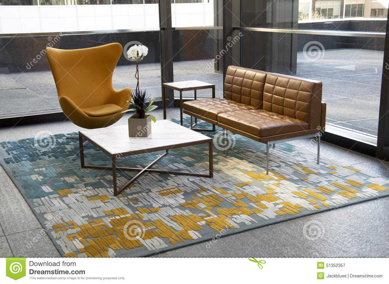 Modern Office Building Lobby Furniture Stock Photo Image