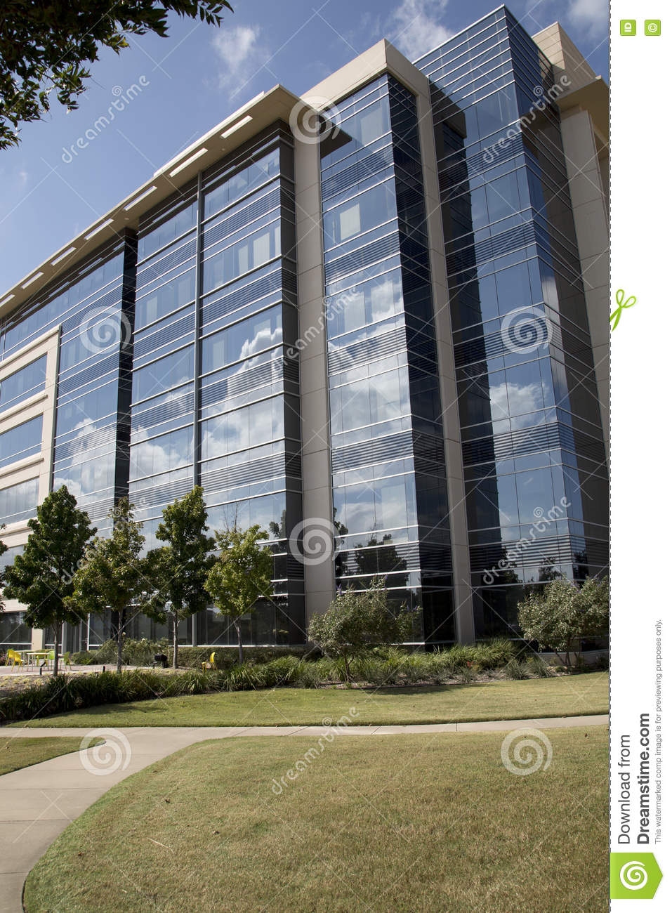 Modern office buildings and park design royalty free stock for Modern office exterior design