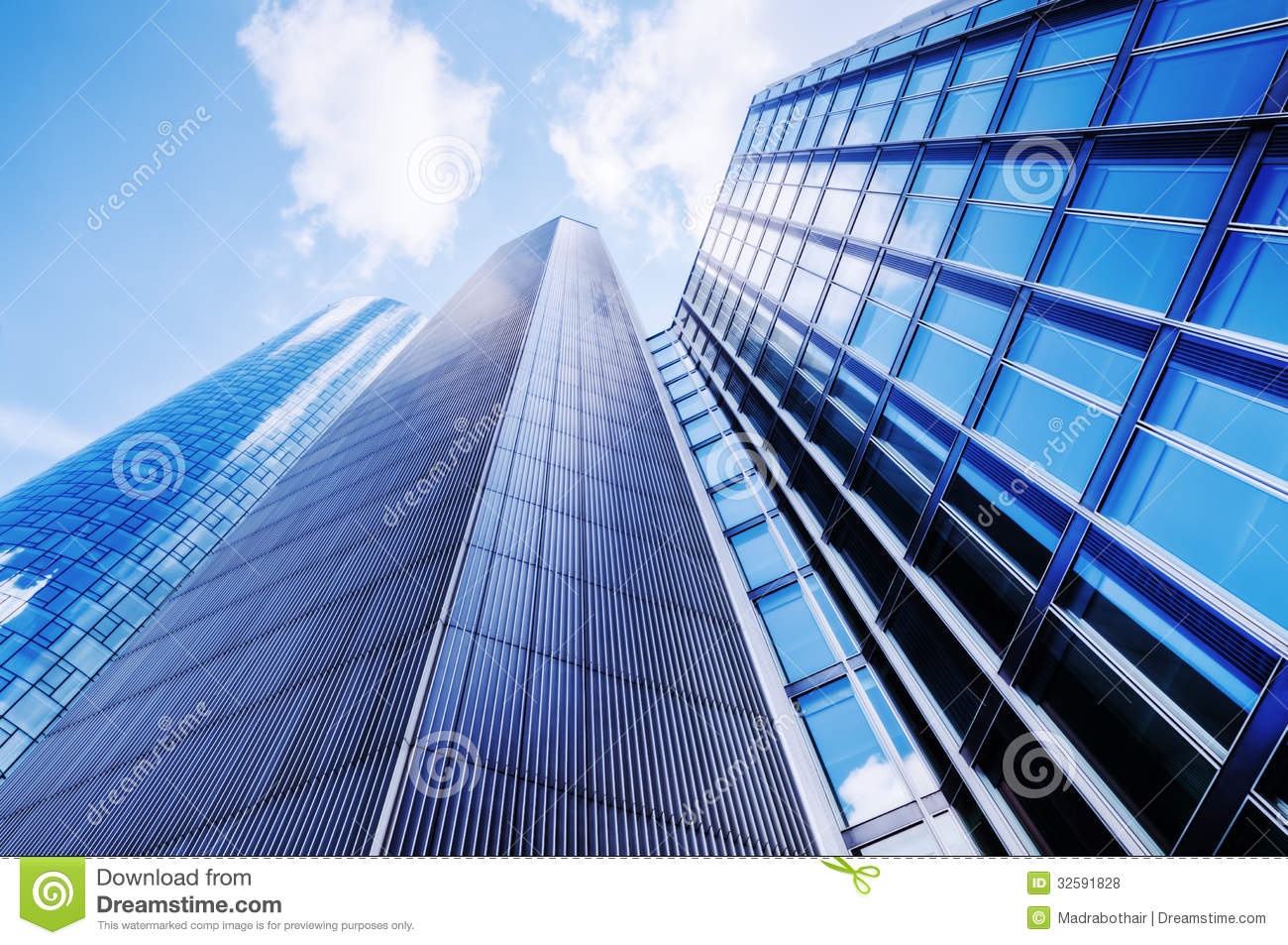 Low Angle View Of Modern Office Buildings Photo: Modern Office Buildings Stock Photo