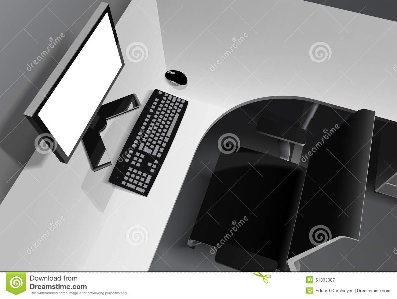 Modern Office With Computer On Desk And Black Chair Stock Photo ...