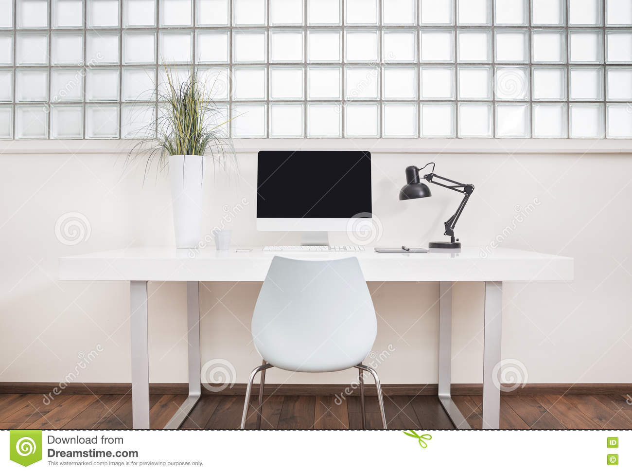 Modern Office Desk Front View Stock Illustration - Image ...