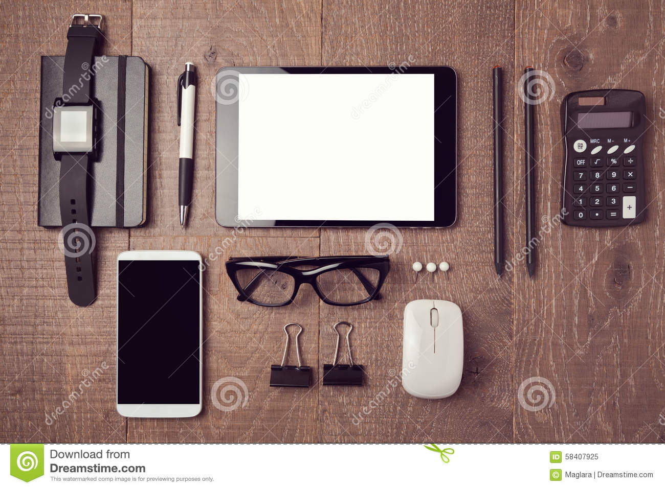 modern office desk with gadgets. view from above stock photo