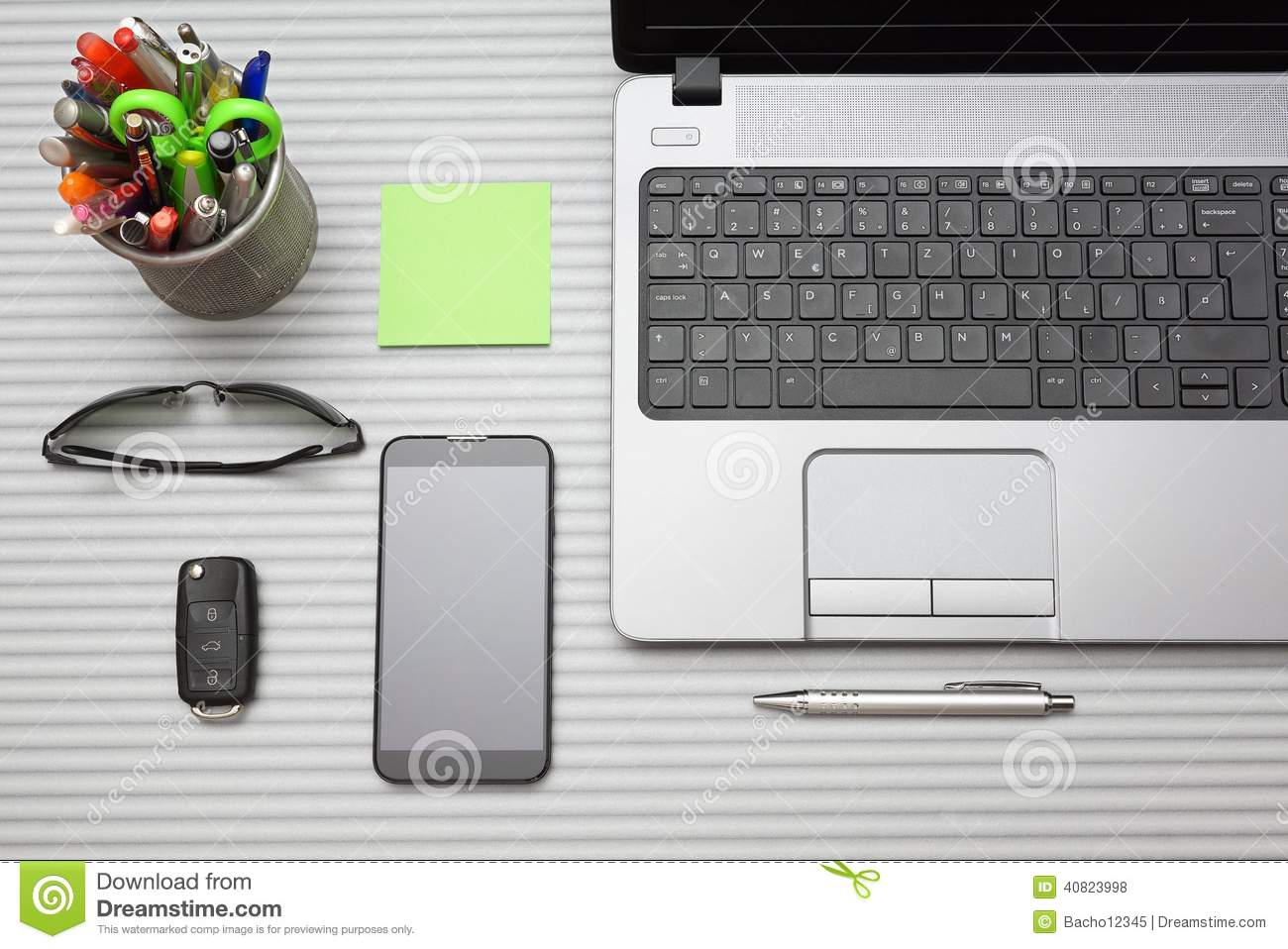 modern office desk with working accessories top view stock photo  - accessories desk modern office