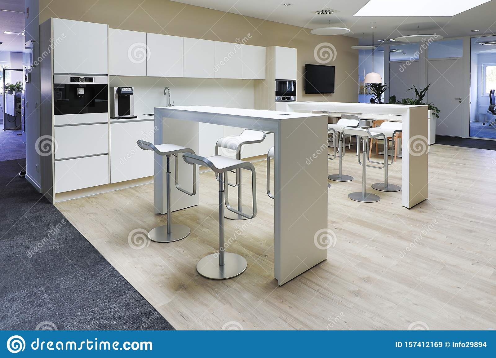 A Modern Office Floor There Is A Beautiful Office Kitchen For The Employees Stock Image Image Of Communication Building 157412169