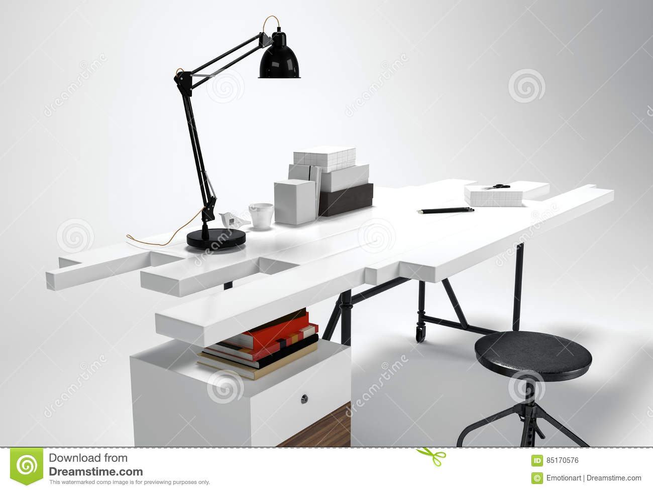 Modern Office Furniture 3d Concept Stock Illustration Illustration