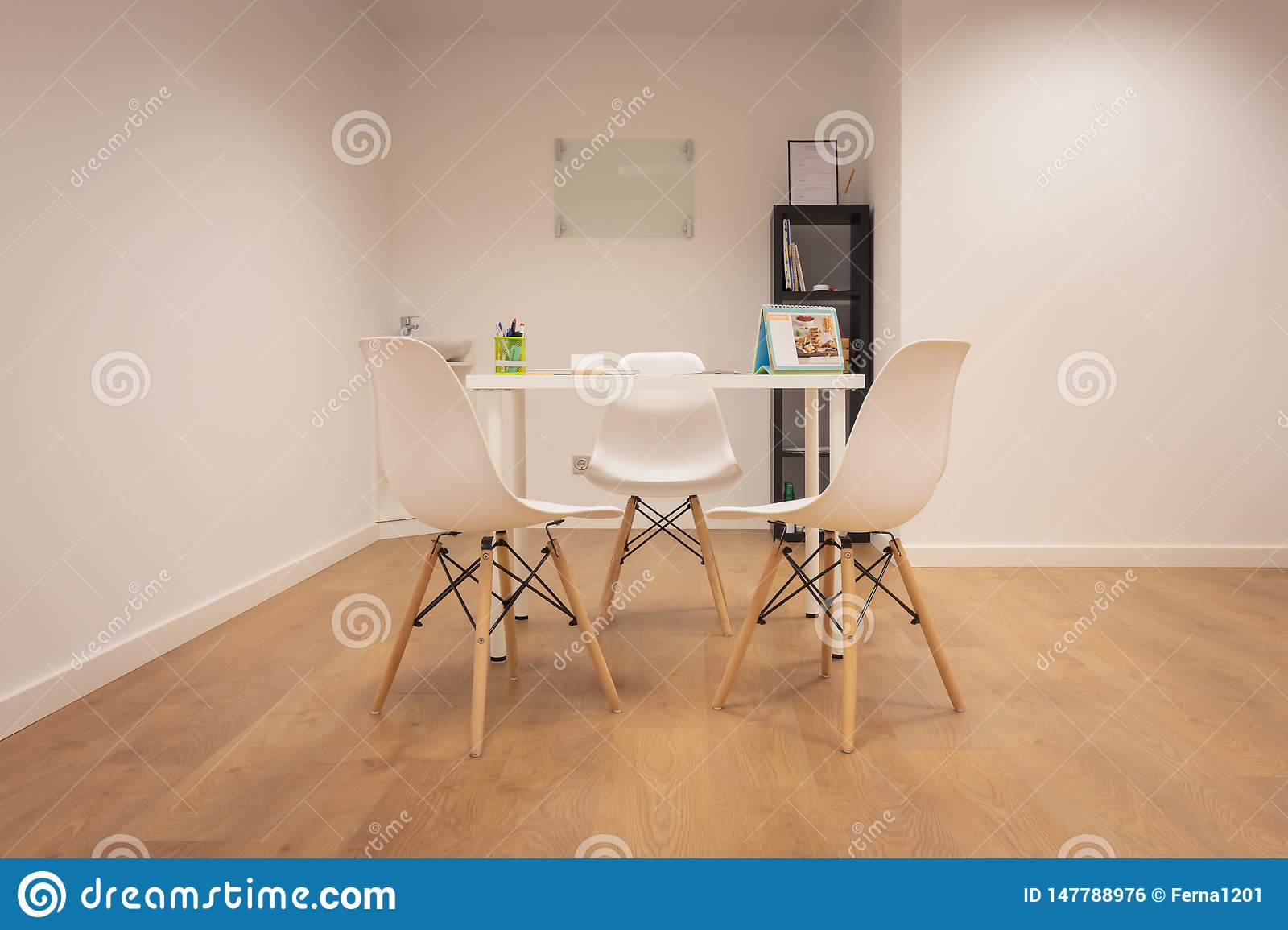 Modern Office Furniture Set With Table And Chairs Interior Of Minimalist Office With White Walls Wooden Floor Wooden And White Stock Photo Image Of Floor Chief 147788976
