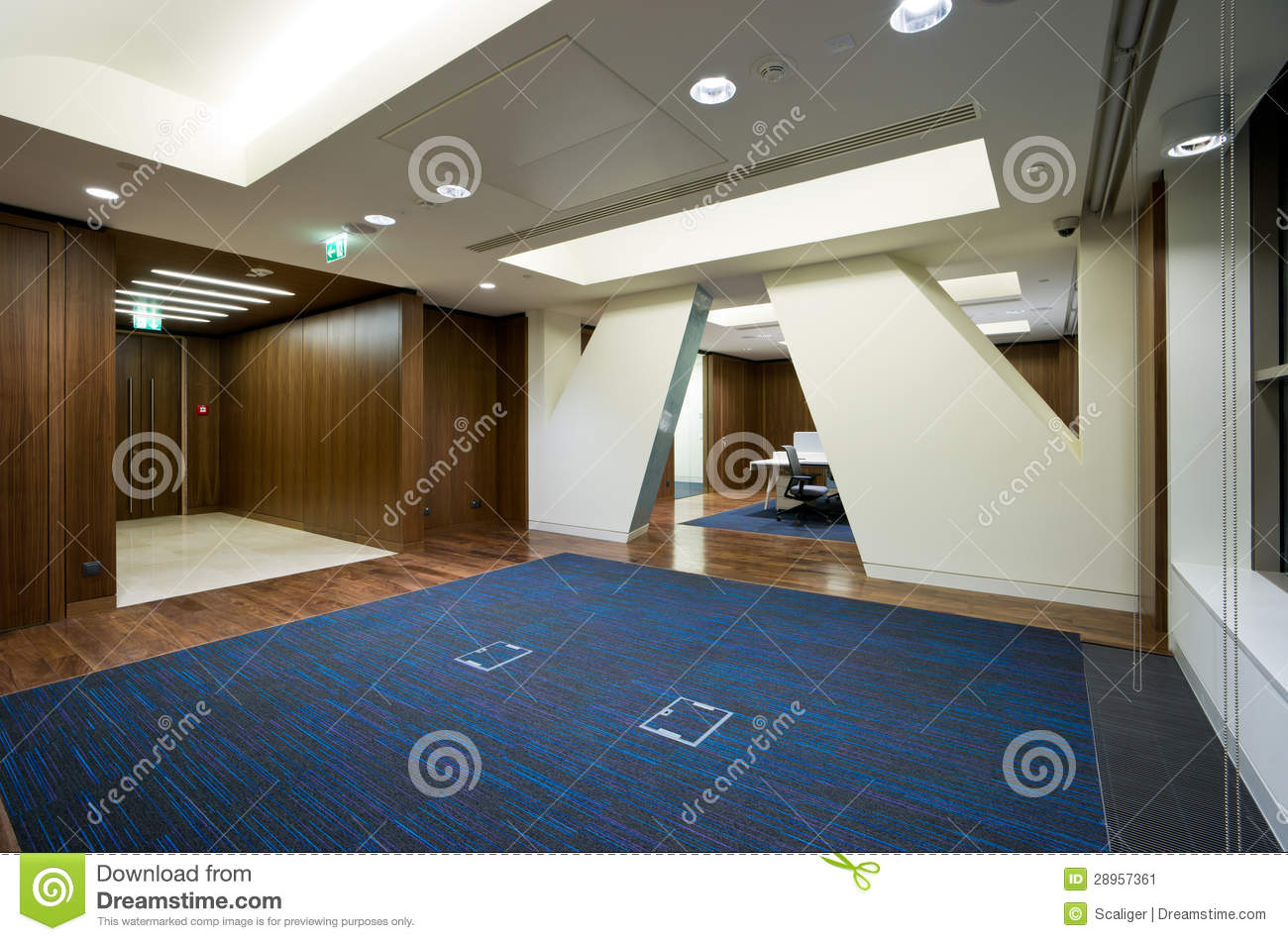 Modern office interior stock image image of empty hall for Office interior modern