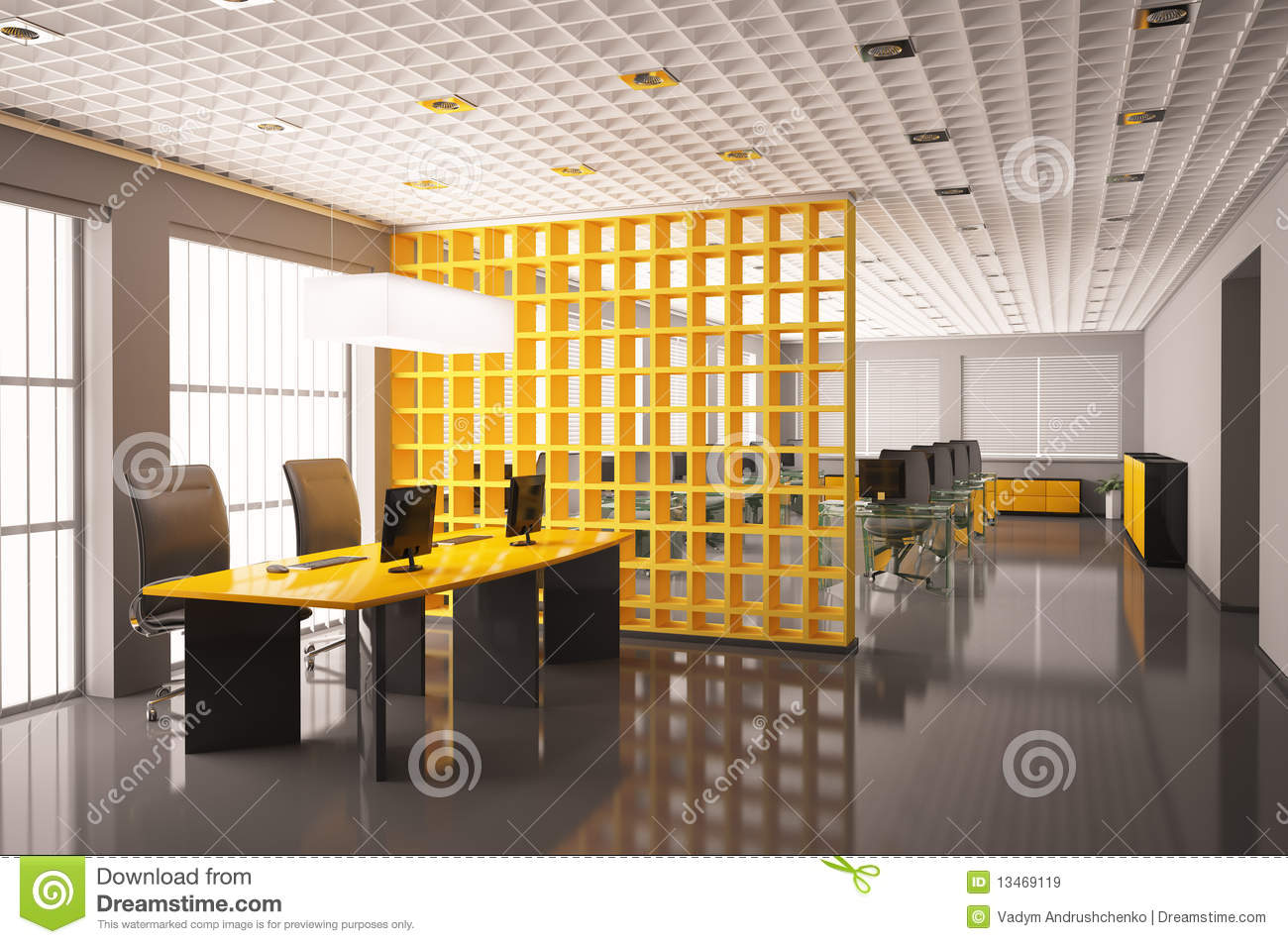 modern office interior 3d render stock illustration illustration