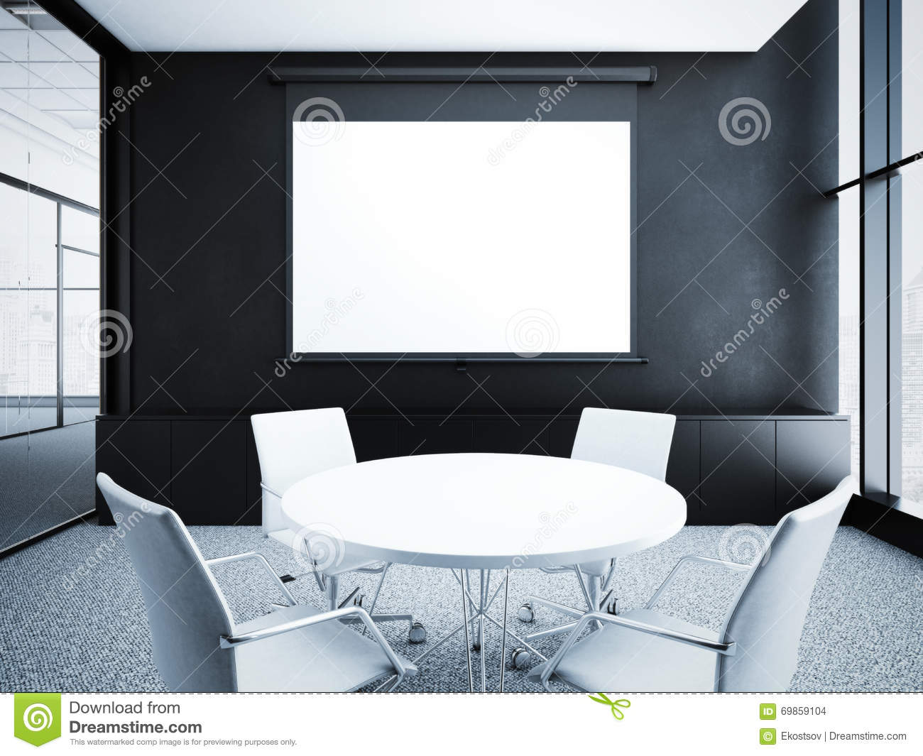 Modern Office Interior With Black Walls. 3d Rendering Stock ...