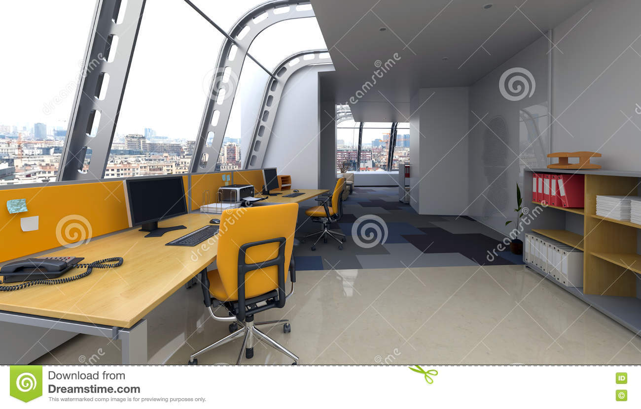 Interior windows architectural - Modern Office Interior With Curved Glass Windows