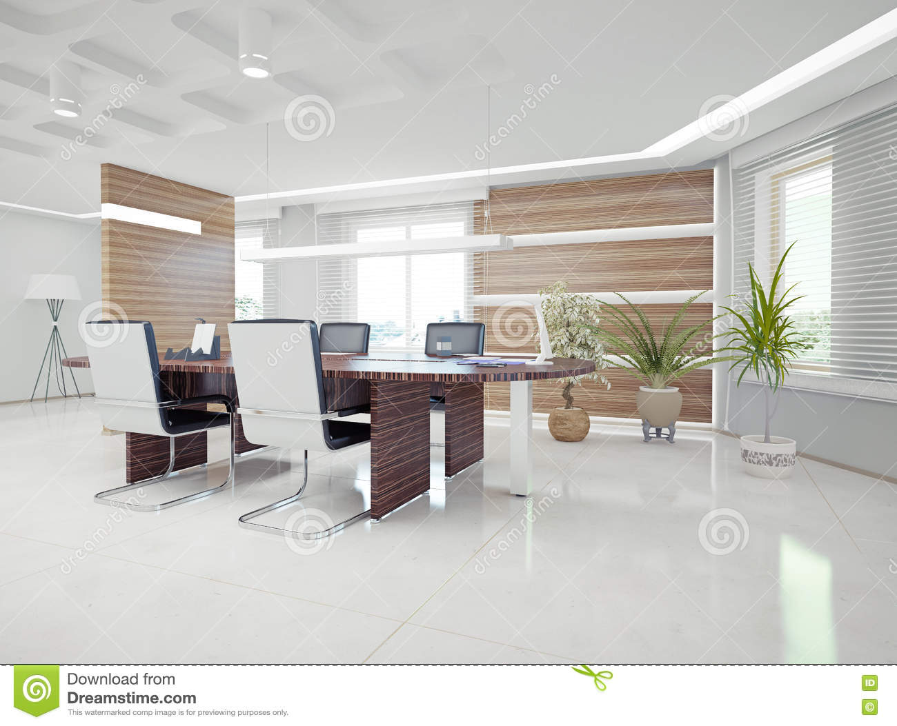 Modern office interior stock illustration illustration of for Modern contemporary office interior design