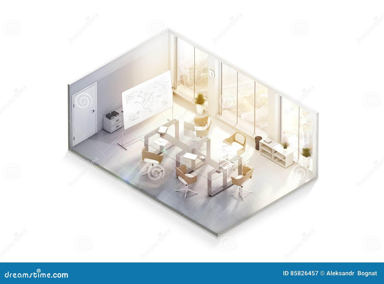 modern office interior design mockup  isometric view stock