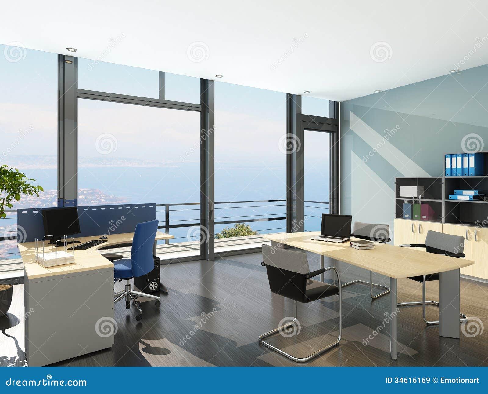 Modern office interior with spledid seascape view