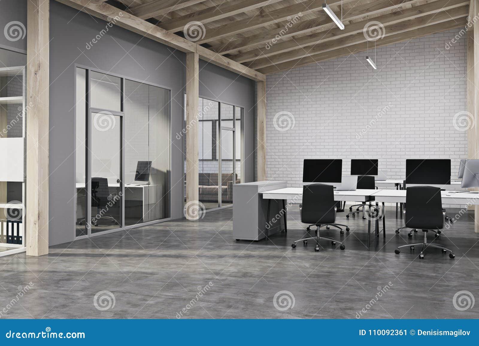 Modern open space office side view on modern open space