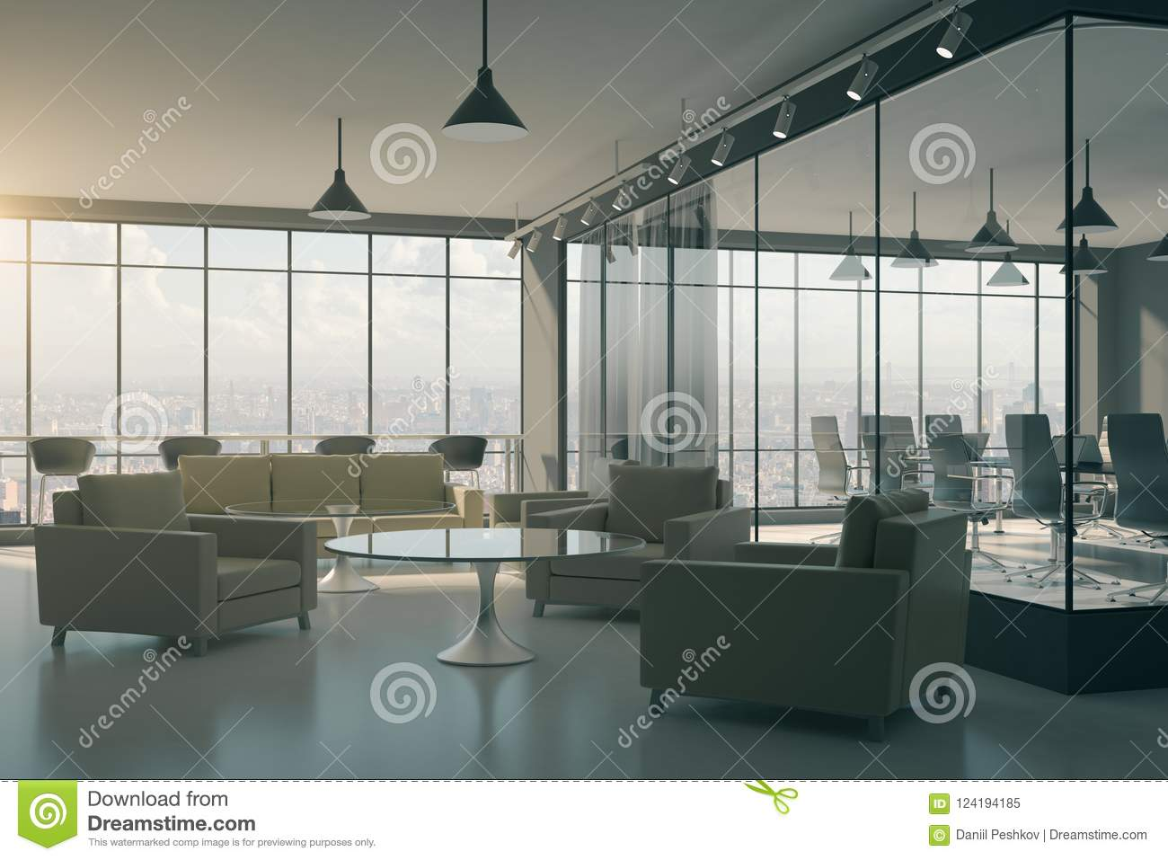 Download Modern Office Lobby Interior Stock Illustration   Illustration Of  Curtains, Corporate: 124194185