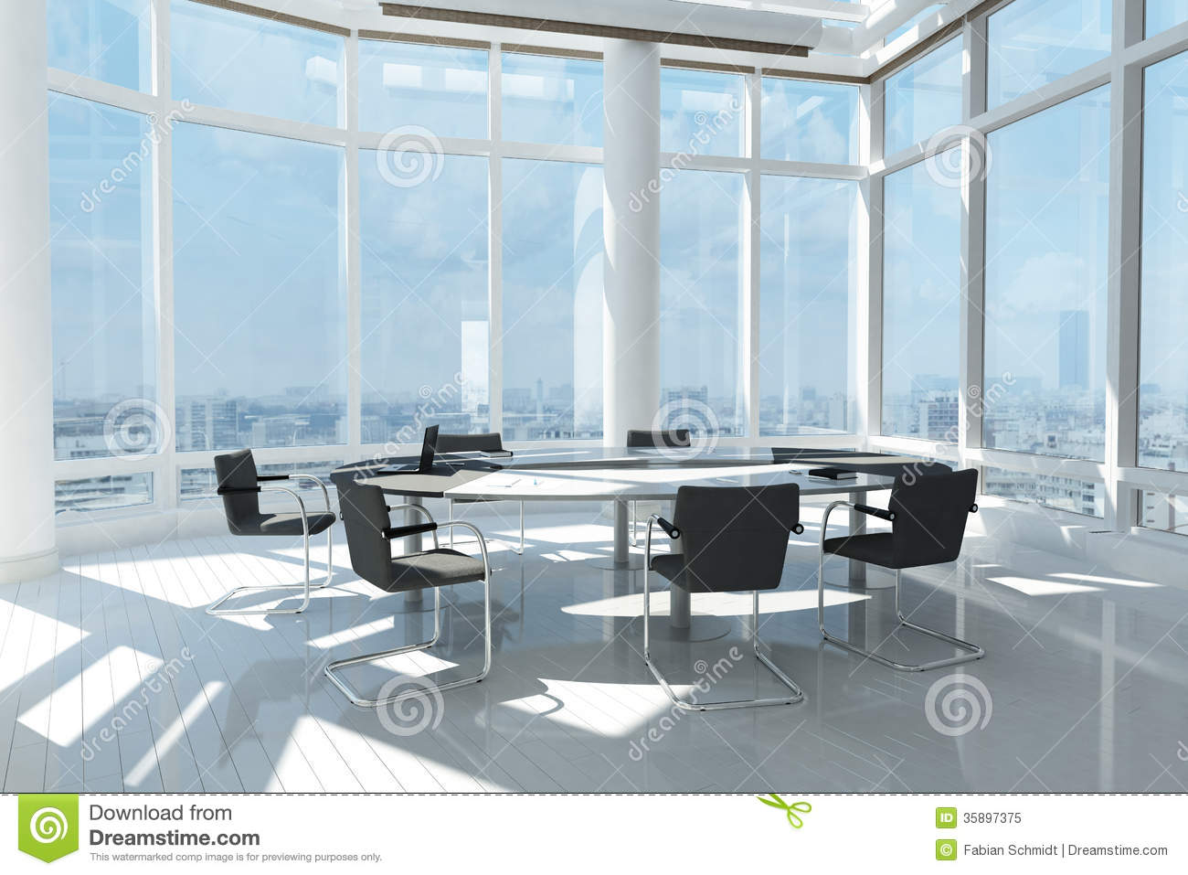 Modern office with many windows royalty free stock photo image