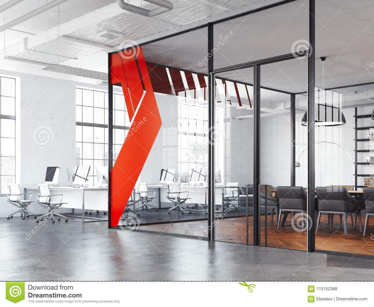 Empty modern open plan office stock photo picture and royalty