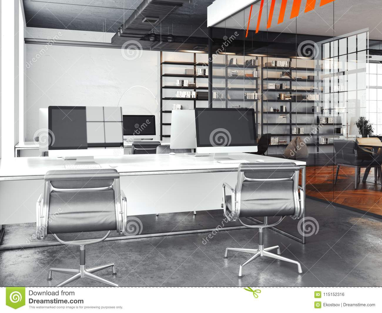 Modern Office Open Space With Bright Walls 3d Rendering Stock Illustration Illustration Of Computer Furniture 115152316