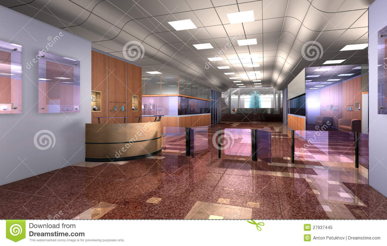Modern Office Foyer : Modern office reception royalty free stock photo image