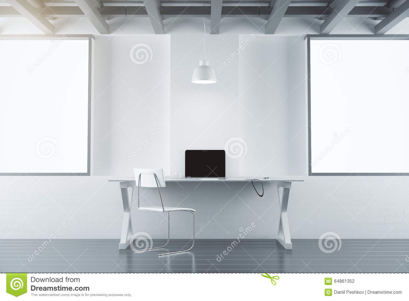 Modern Office Room With Furniture Laptop And Blank White