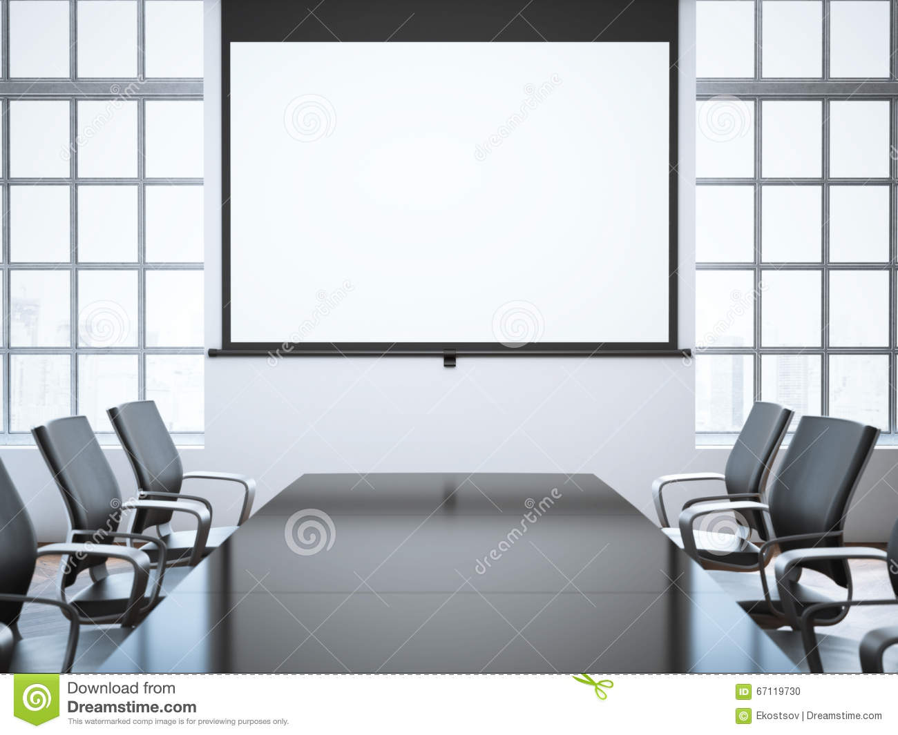 Modern Office Room With Projector Screen. 3d Rendering Stock Photo ...