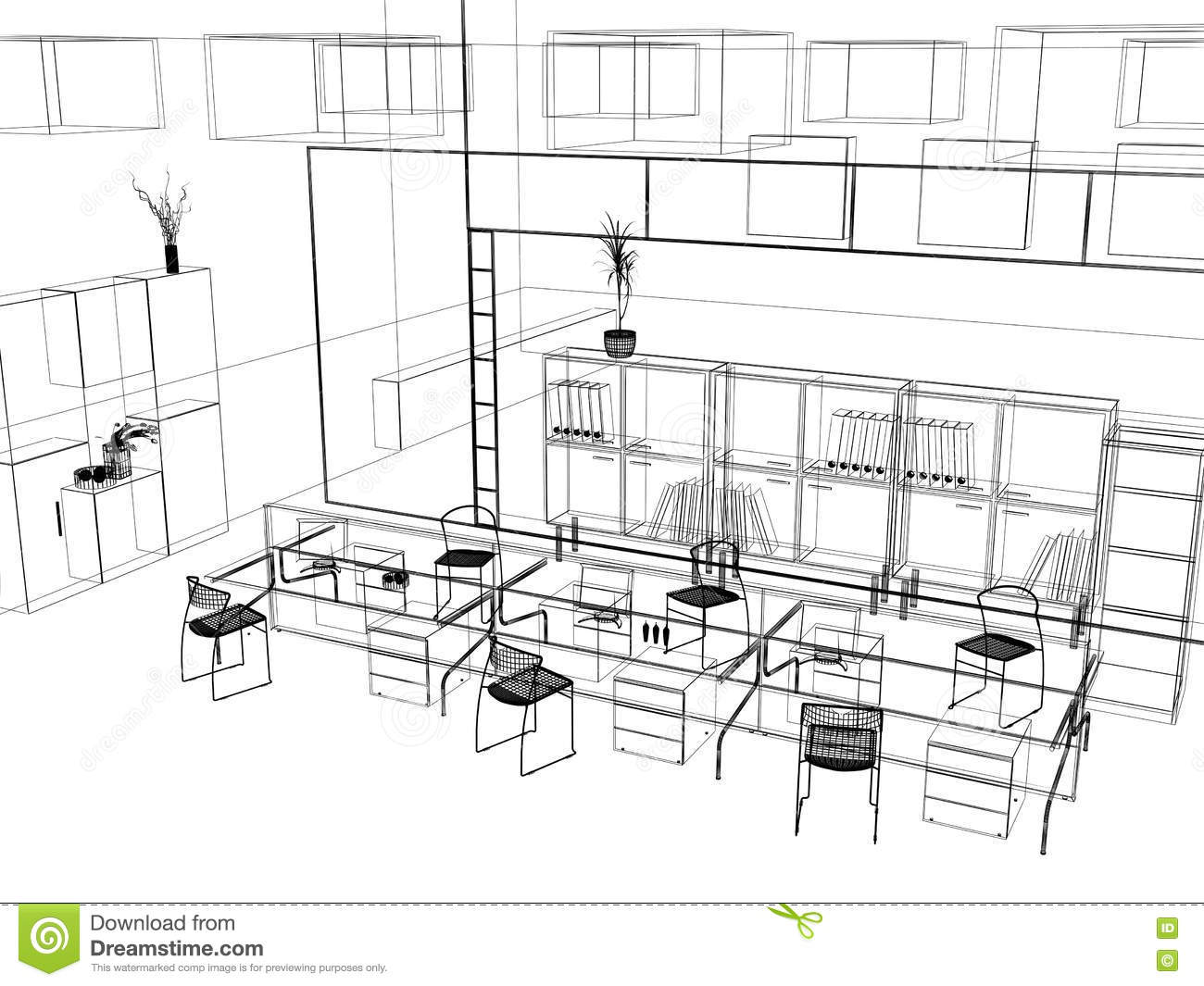 The modern office sketch royalty free stock image image for Interior design sketch images