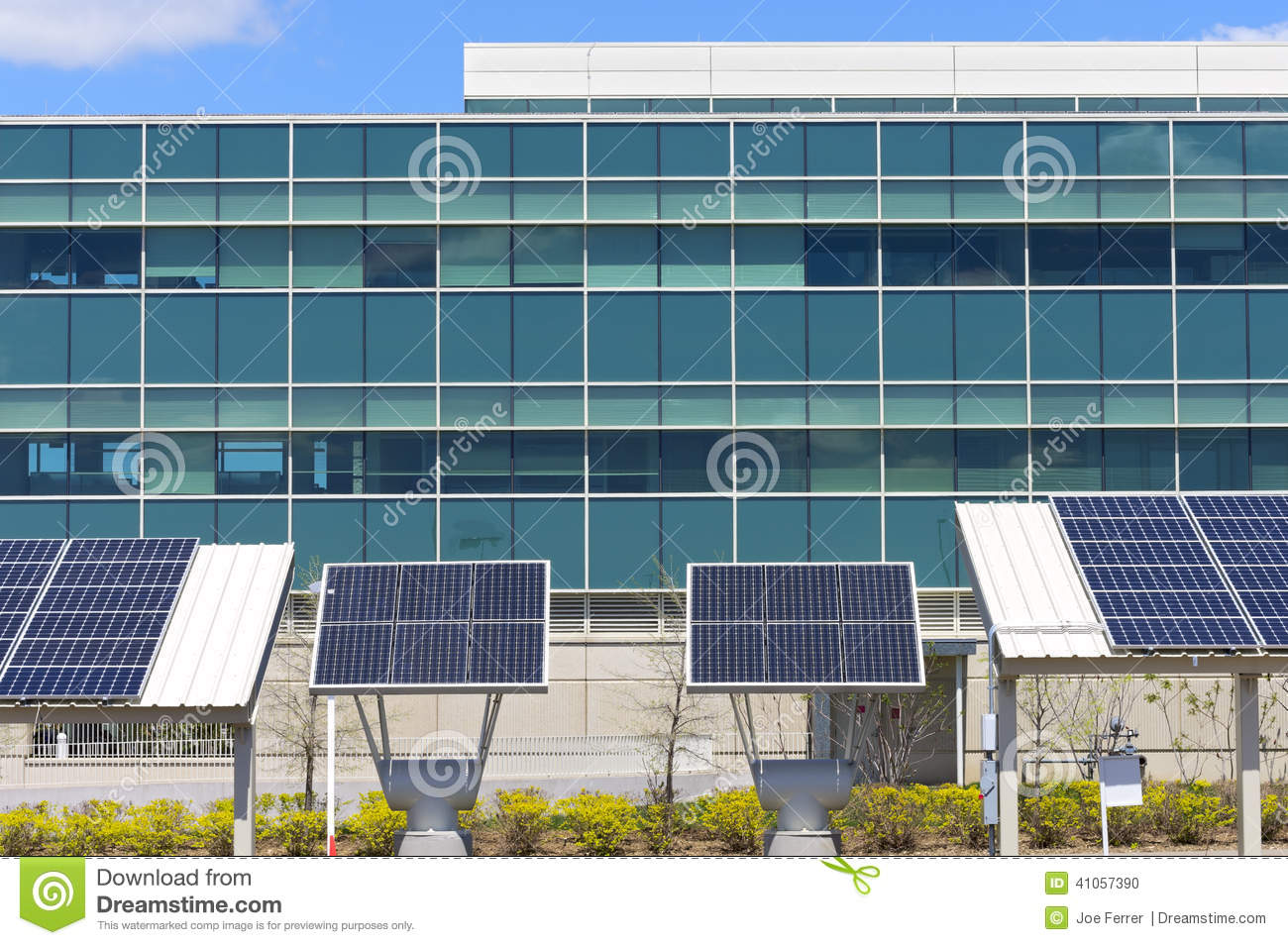 Solar Powered Office Buildings : Modern office with solar power stock photo image