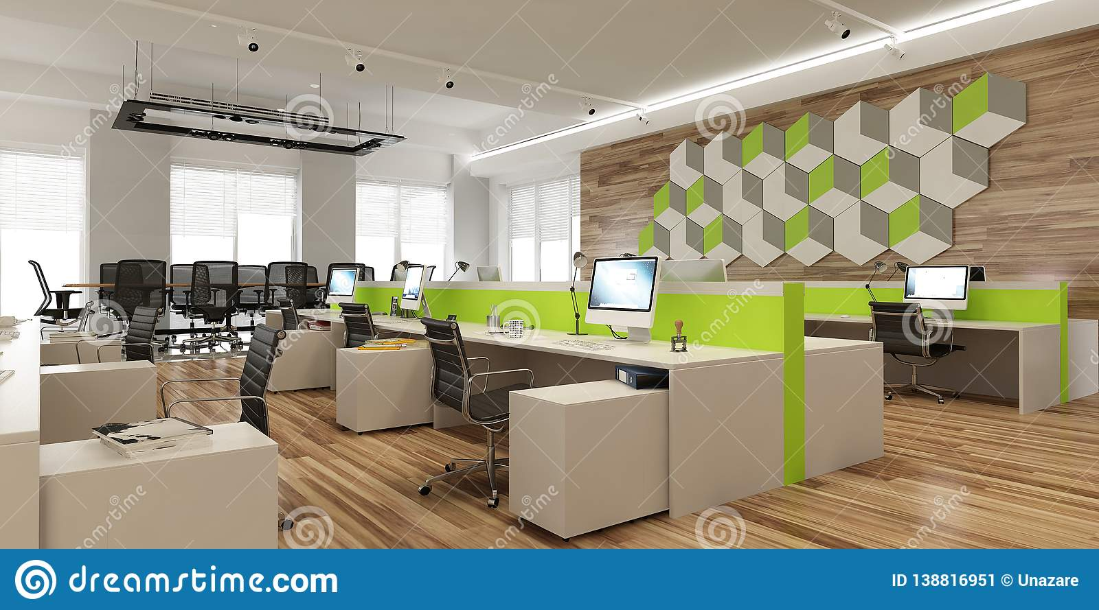 Modern Office Space Interior In Light Colors With Wooden And Bright Accents.