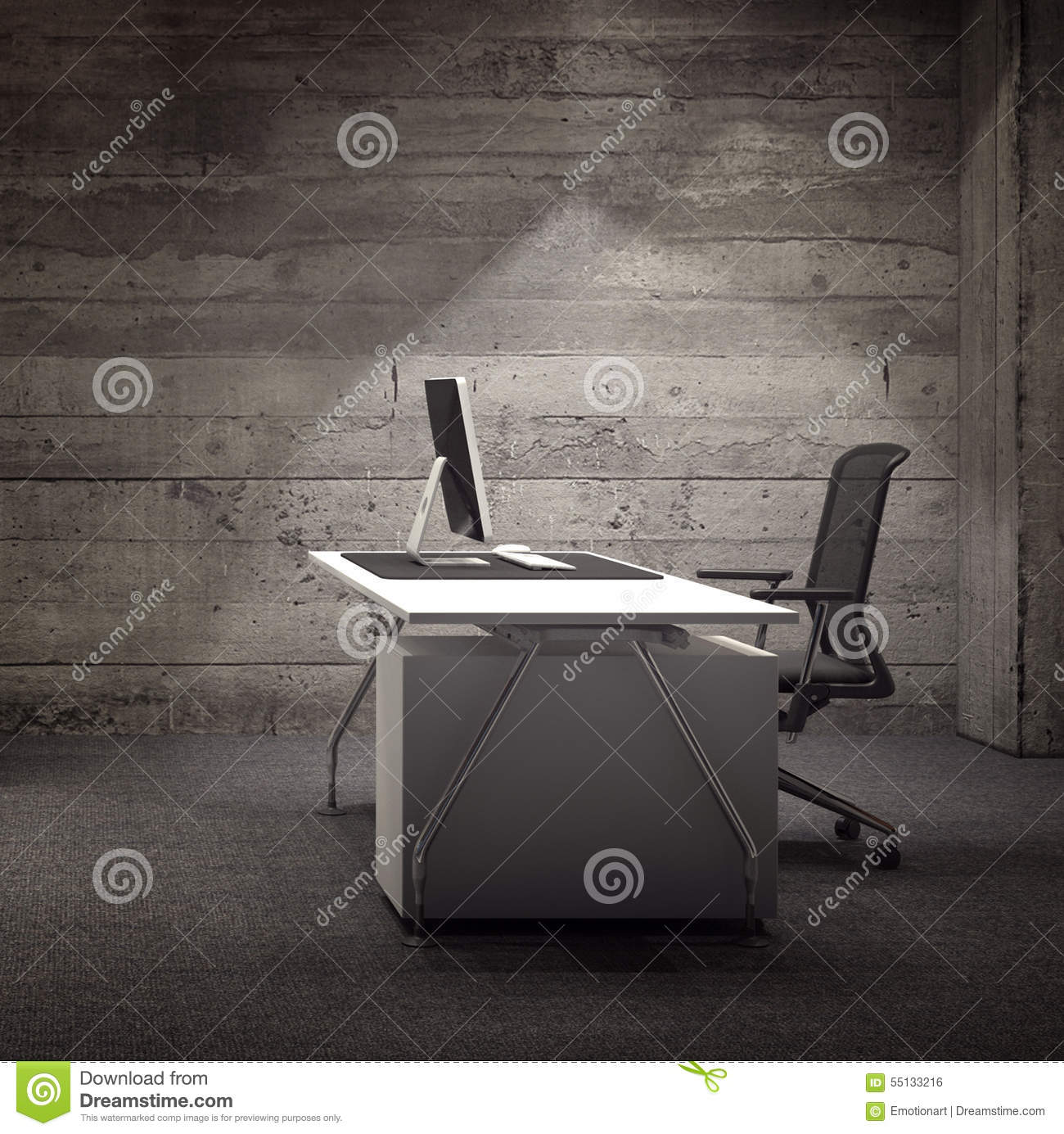 Modern Office Space With Rustic Wooden Wall Stock Illustration Illustration Of Keyboard Wheels 55133216