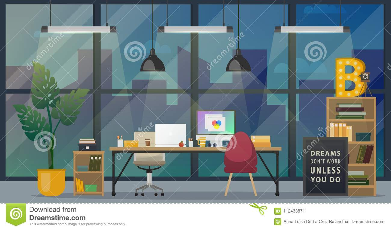 Modern Office Workplace Stock Vector Illustration Of Concept