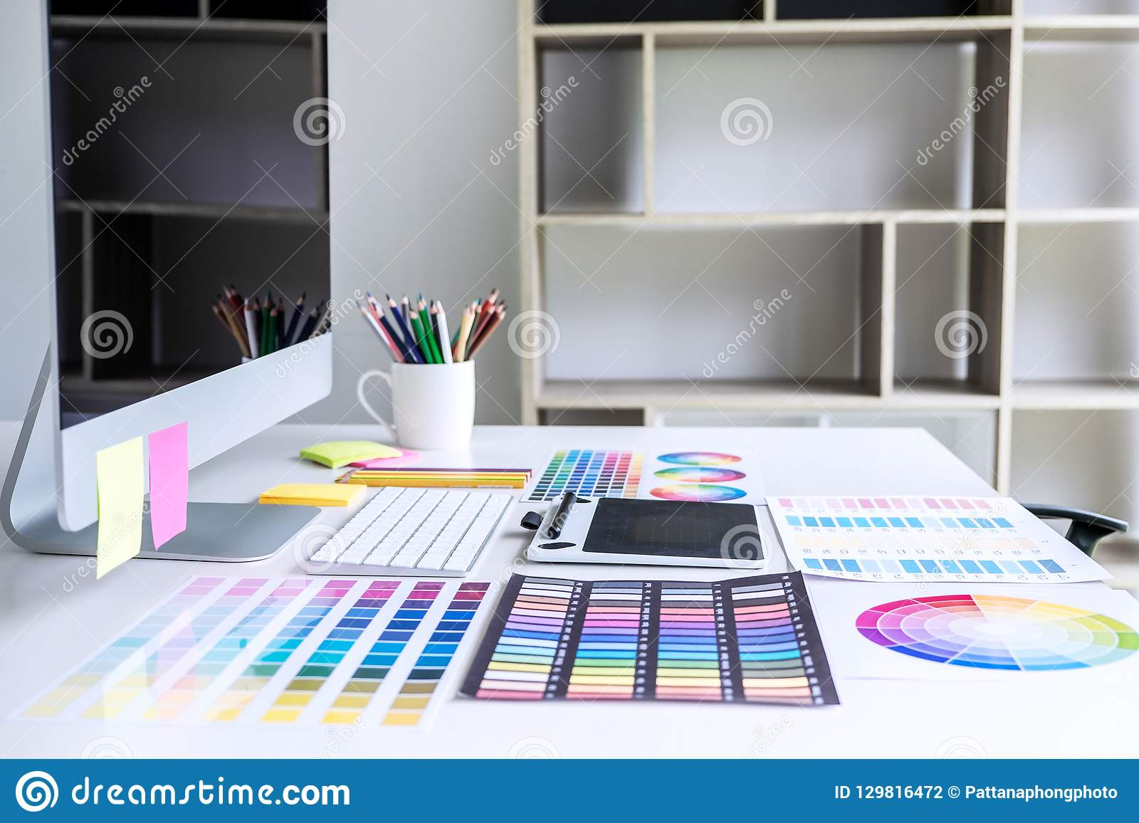 Modern office workplace with tablet, Graphic designer and color
