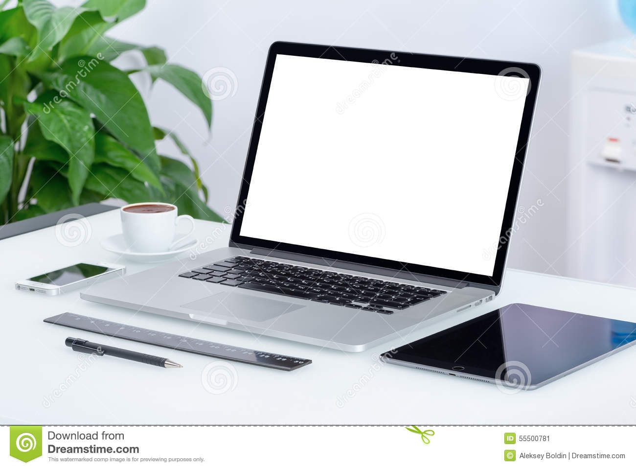 modern office workspace with laptop computer tablet pc stock photo image 55500781. Black Bedroom Furniture Sets. Home Design Ideas