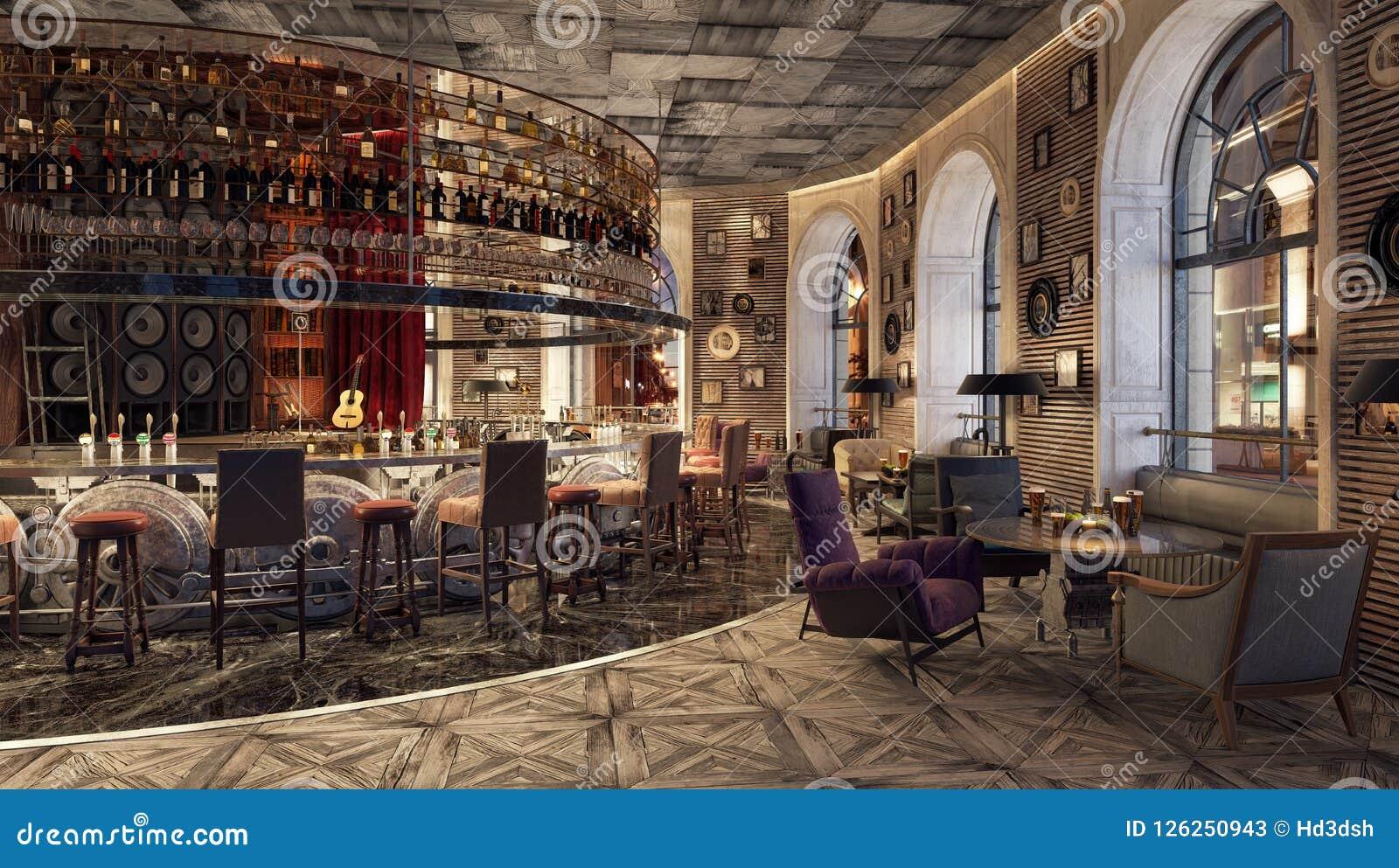 Modern Old Fashioned Restaurant Lounge Bar Stock Image ...