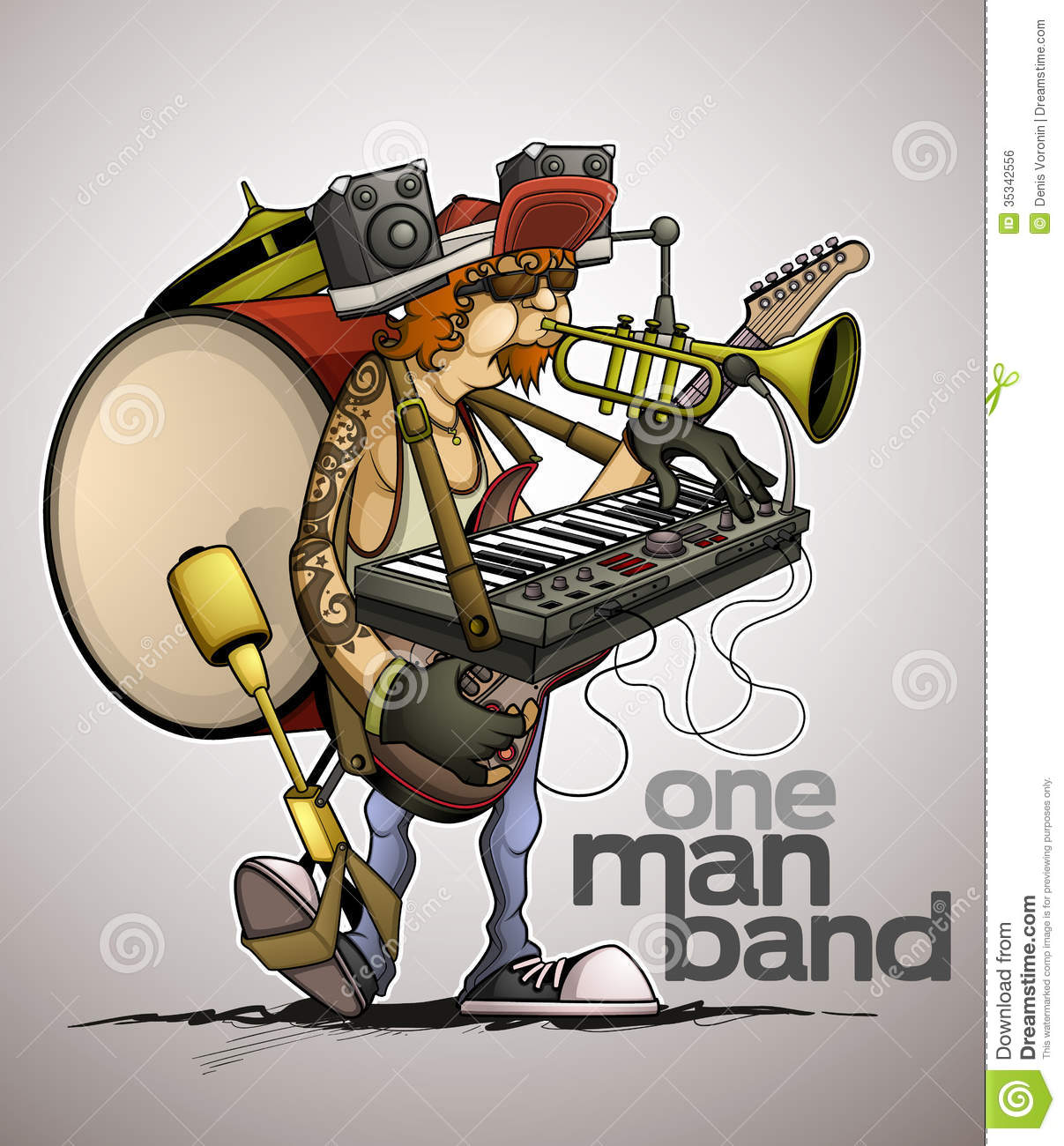 One Man Song Download By Singa: Modern One Man Band Royalty Free Stock Image