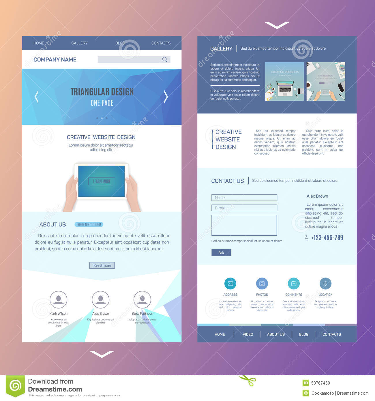 Modern One Page Website Template Design With Stock Vector - Image ...