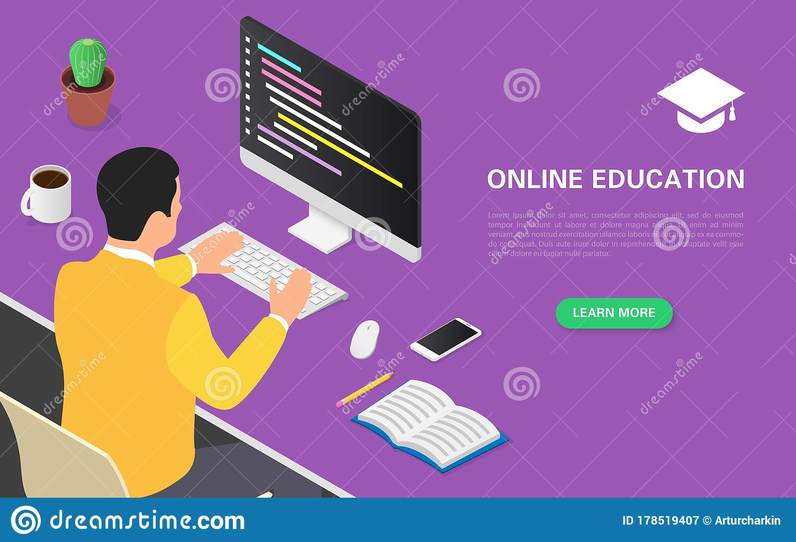 Modern Online Education Banner Concept A Student Is Studying Online Courses On A Computer Remotely Home Schooling Stock Vector Illustration Of Life Business 178519407