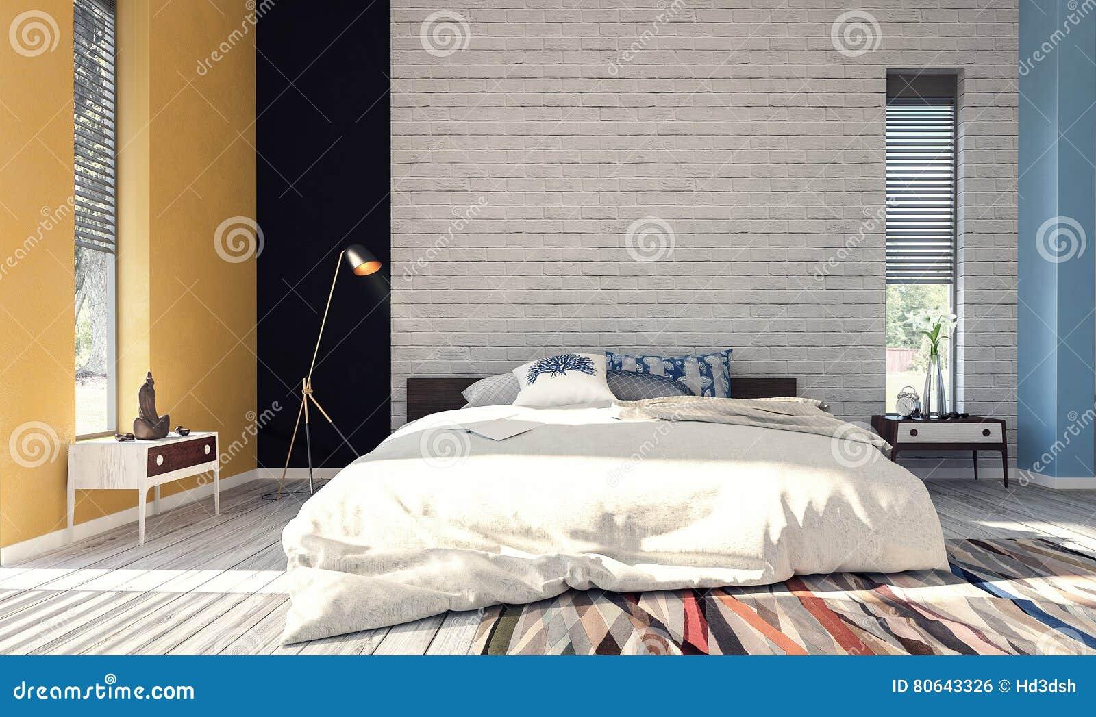 Moderne Slaapkamer Ontwerpen : Modern ontwerp van slaapkamer stock foto afbeelding bestaande
