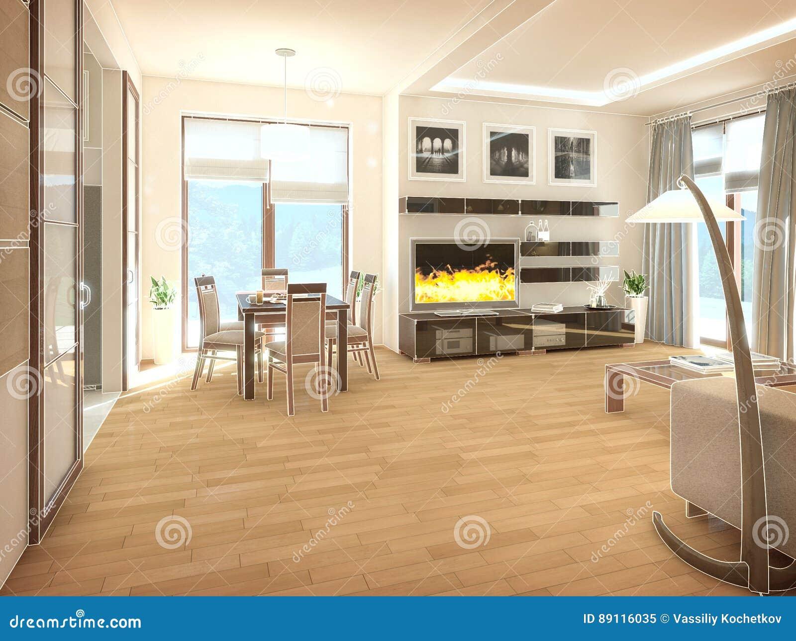 Woonkamer Lampen Modern : Modern ontwerpbinnenland van woonkamer 3d geef terug stock