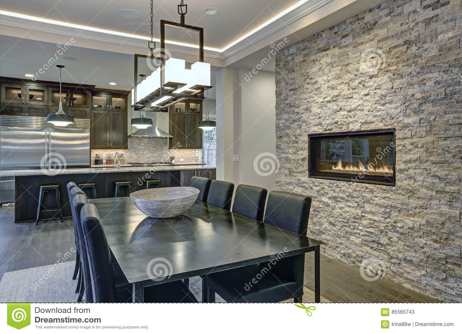 Modern Open Floor Plan Dining Room Design Stock Image Image Of