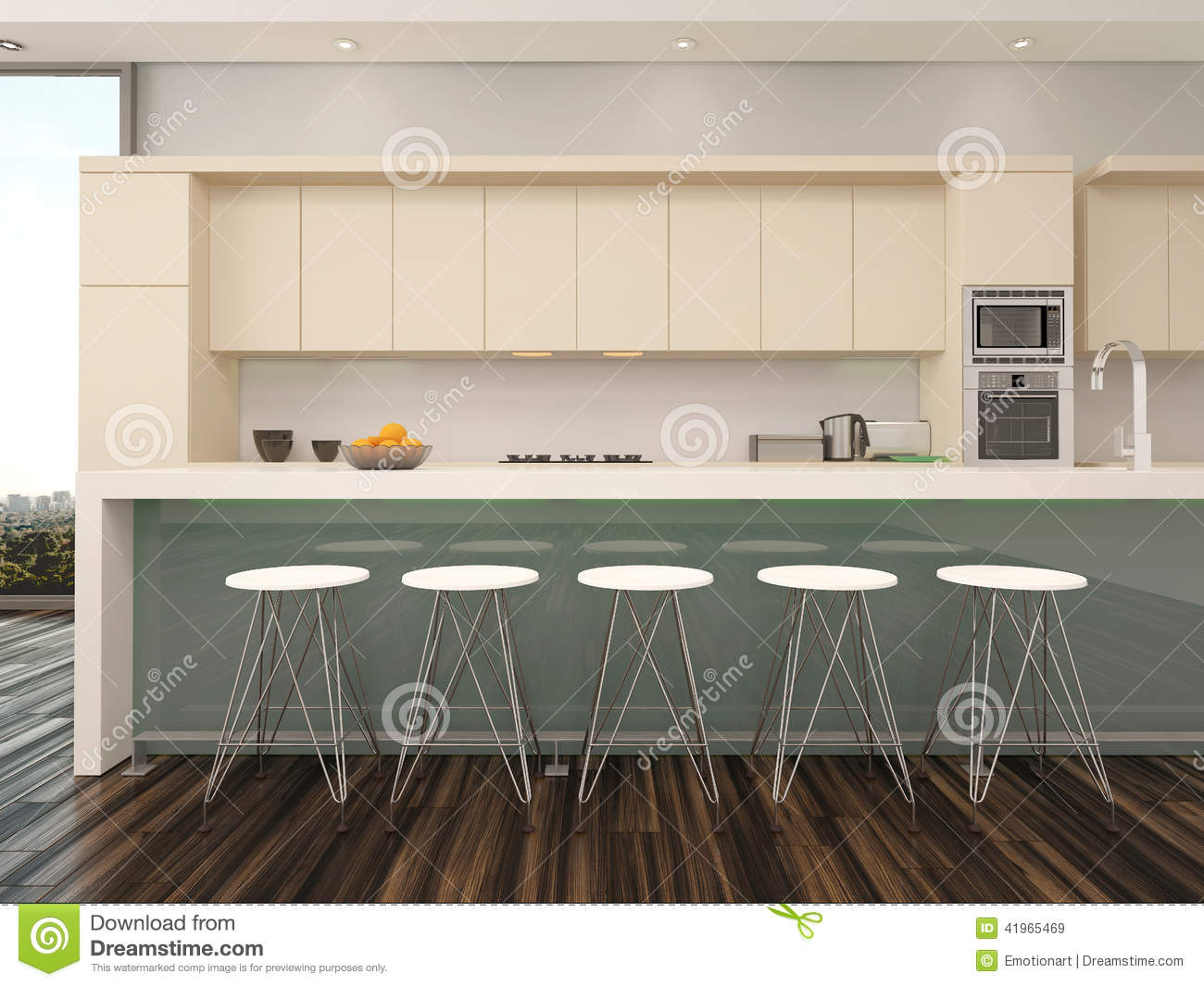 Modern Open Plan Apartment Kitchen Interior Stock