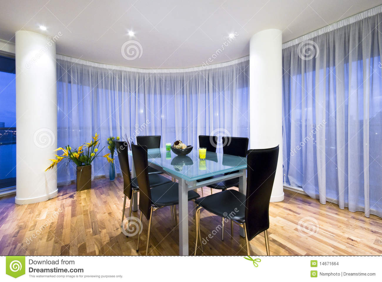 Modern open plan dining area in a penthouse