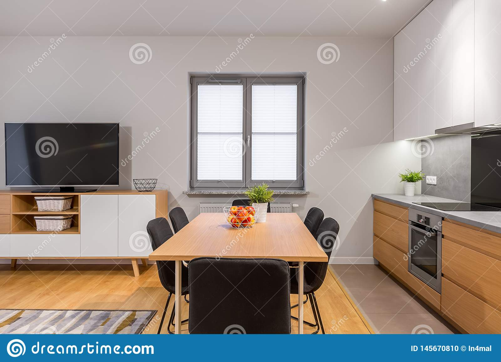 Modern Open Space Apartment With Small Window Stock Photo   Image ...