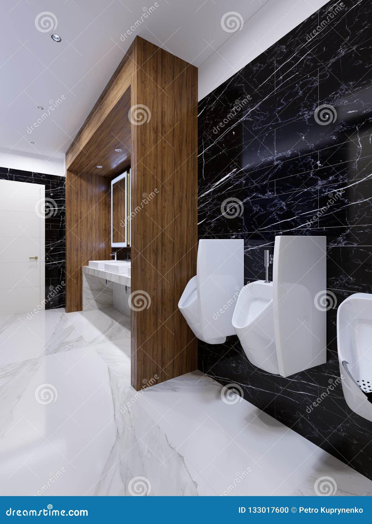 Modern openbaar toilet in eigentijdse stijl met een houten gebied en zwarte marmeren muren