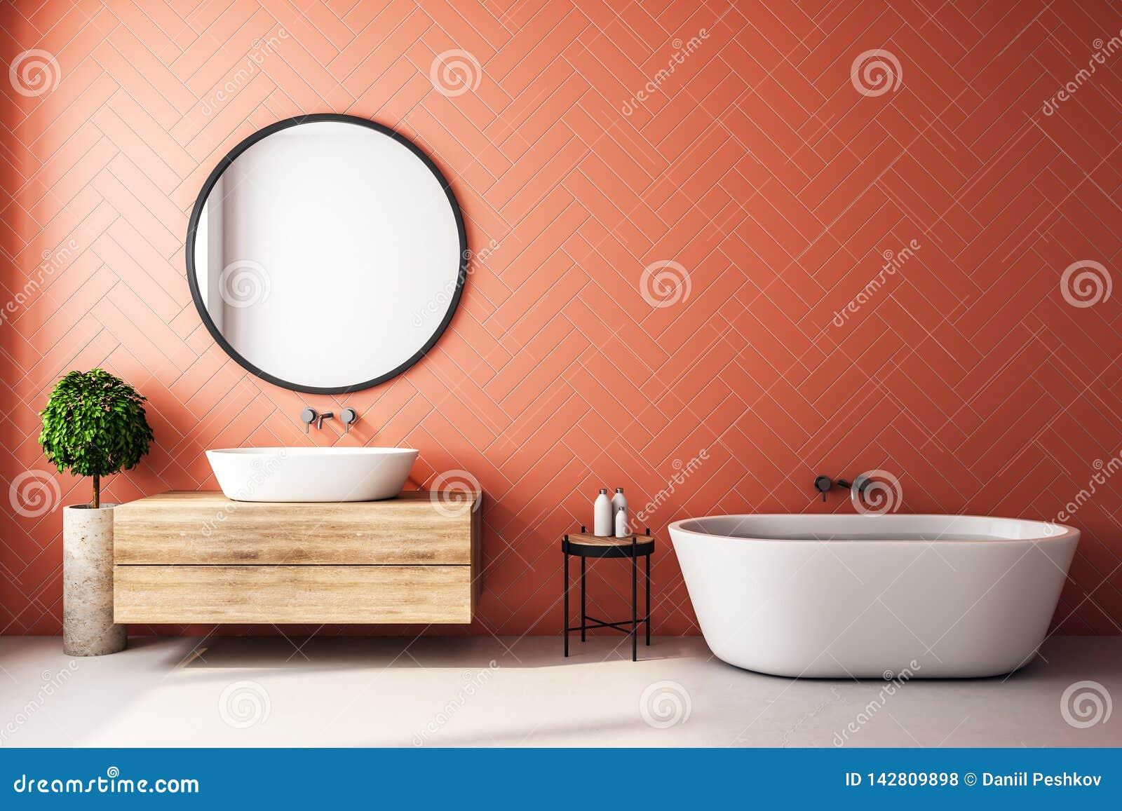 Modern Orange Bathroom Interior Stock Illustration ...