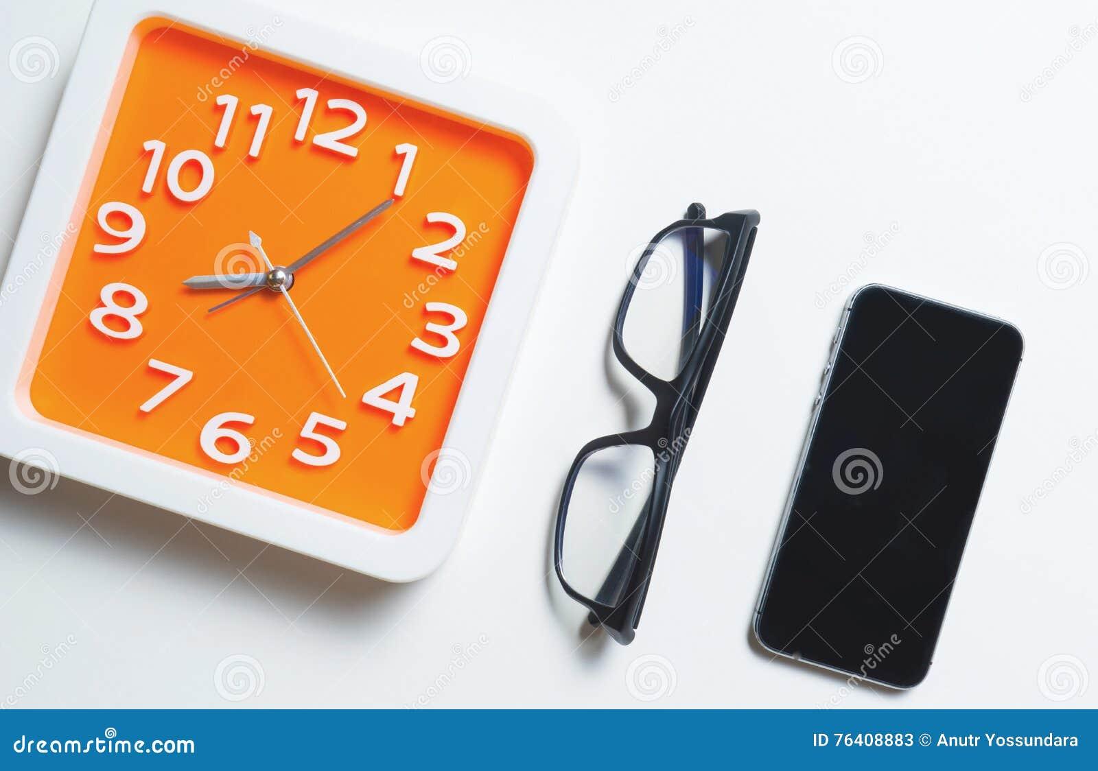 Modern Orange Clock Glasses smart phone