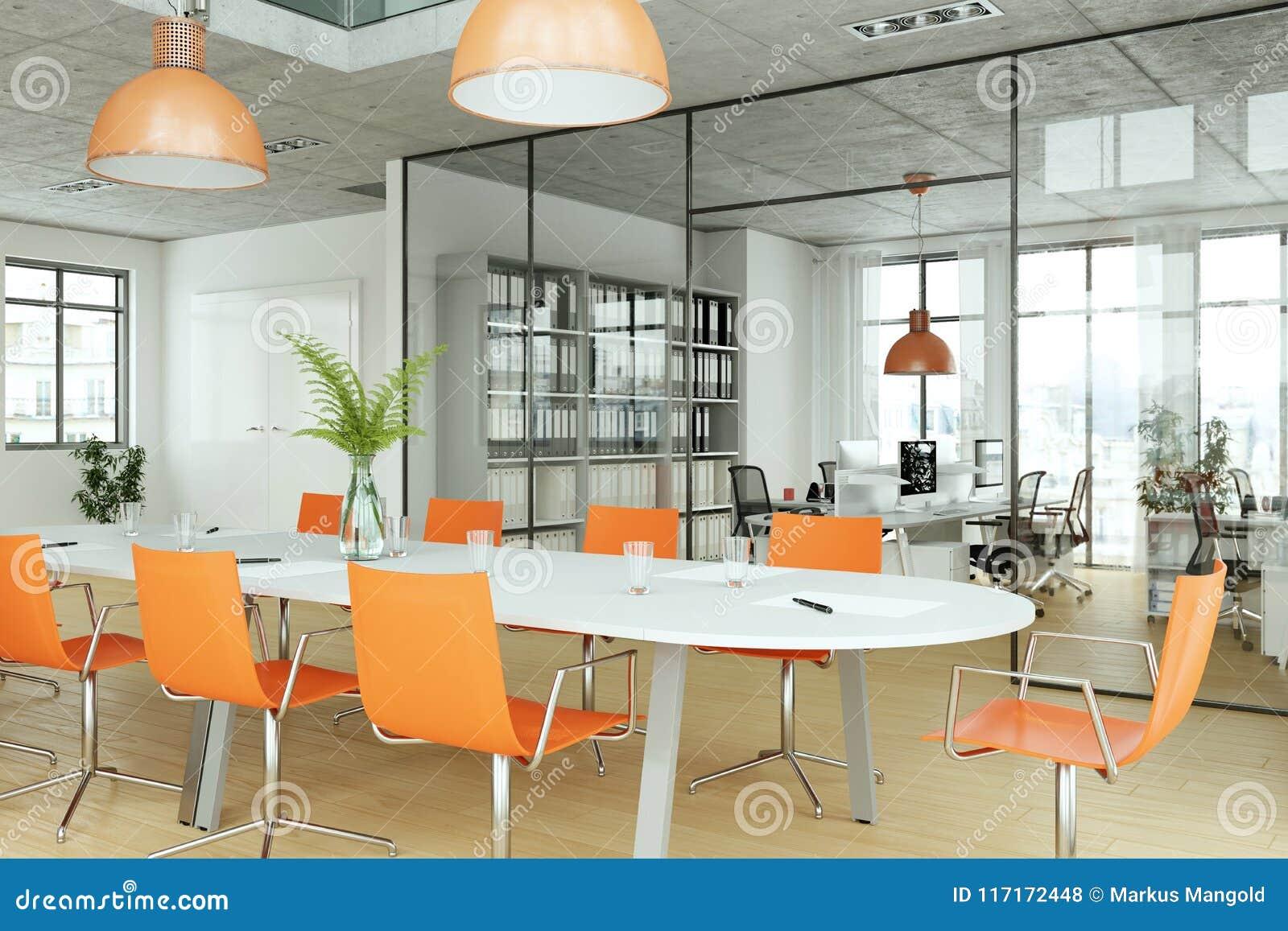 Download Modern Orange Conference Room Interior Design. 3d Rendering Stock  Illustration   Illustration Of Contemporary