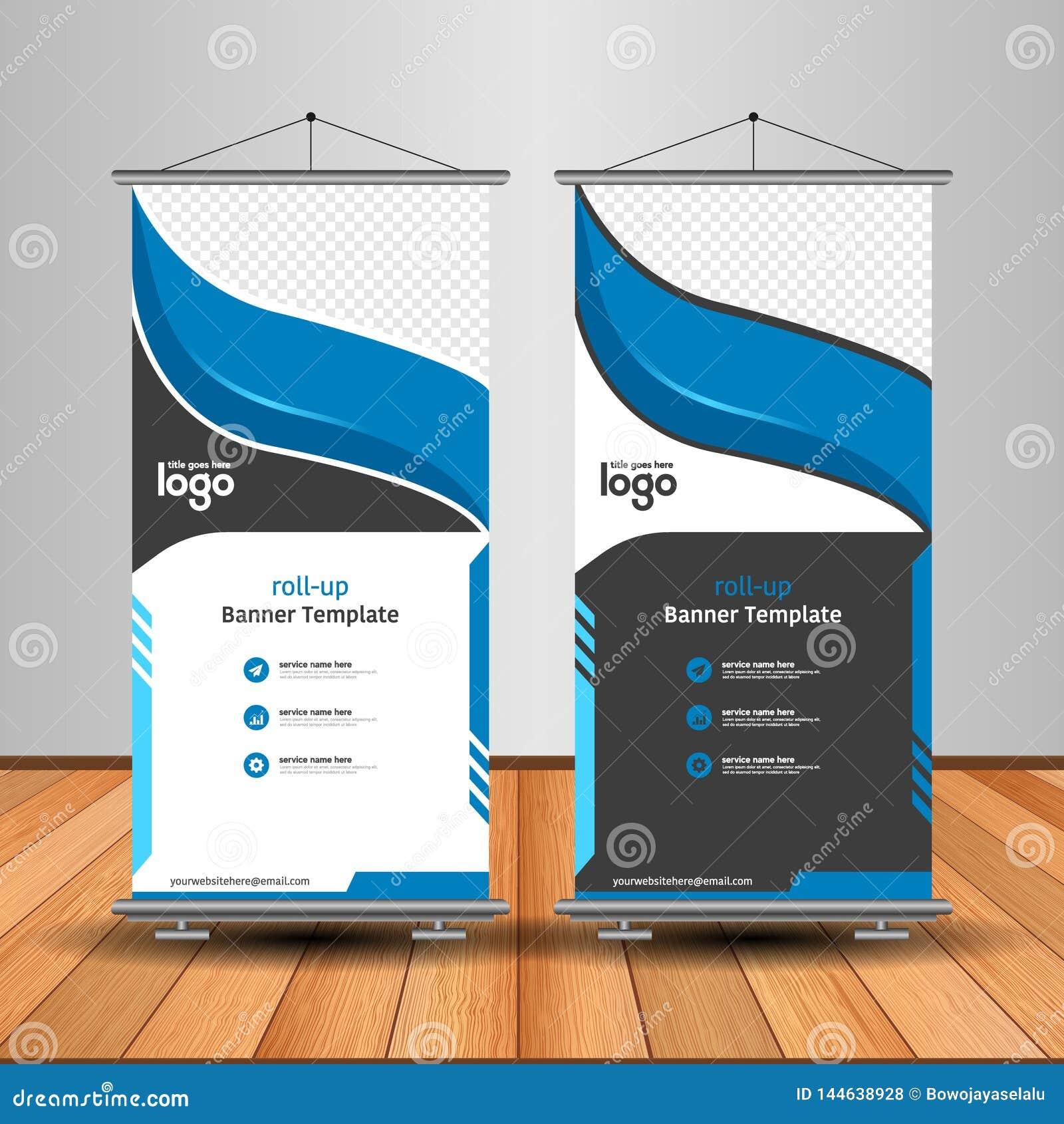 Modern Orange Roll Up Banner. Advertising vector template design